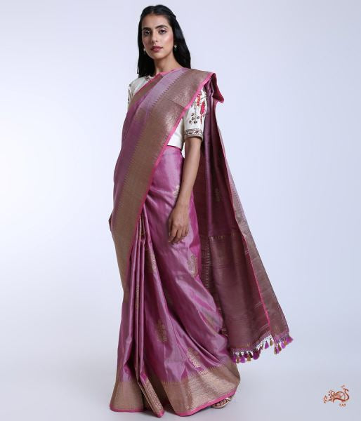 Handwoven Banarasi Tusser Saree In Lavender Saree