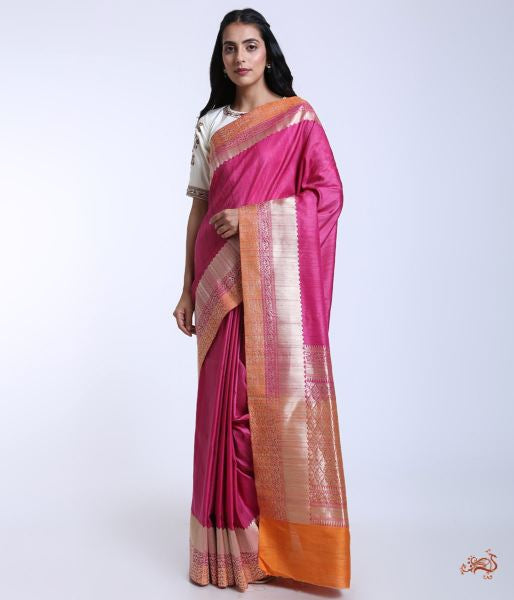 Handwoven Banarasi Tusser Saree In Pink Saree