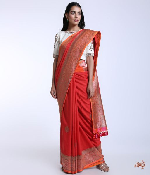 Handwoven Banarasi Cotton Saree With Antique Zari Weave Saree