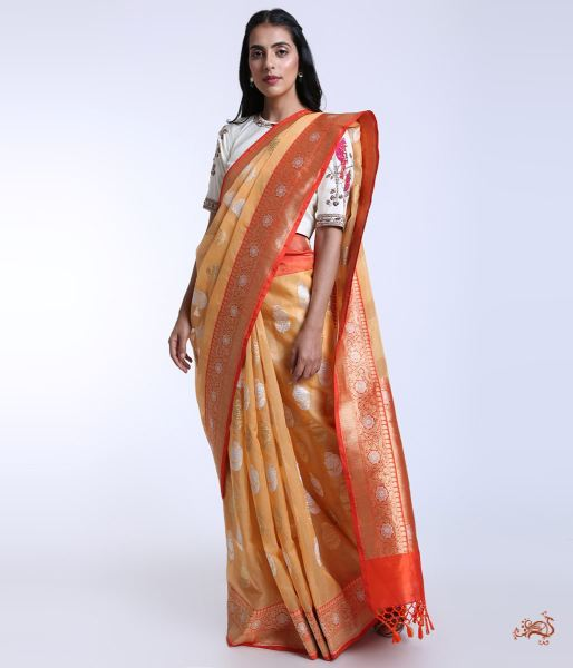 Kora Silk Banarasi With Contrast Borders Saree