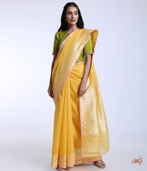 Handwoven Kadhwa Booti Banaras Cotton Saree In Turmeric Yellow Saree