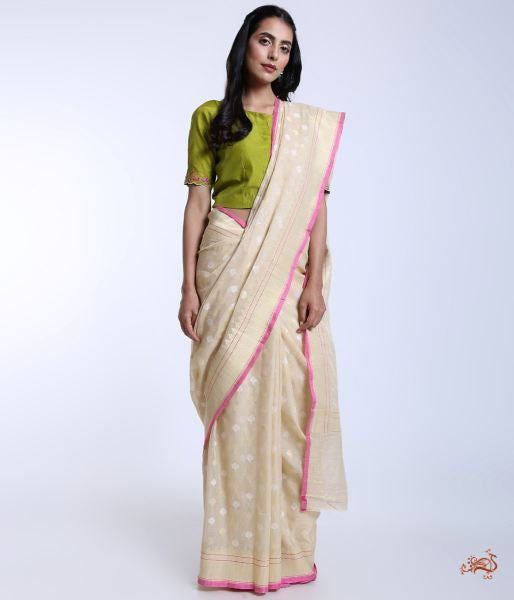 Offwhite Handwoven Pure Banarasi Cotton Saree Saree