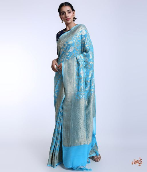 Handwoven Banarasi Jangla Woven In Georgette Saree