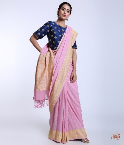 Light Mauve Handwoven Georgette Tanchoi Saree