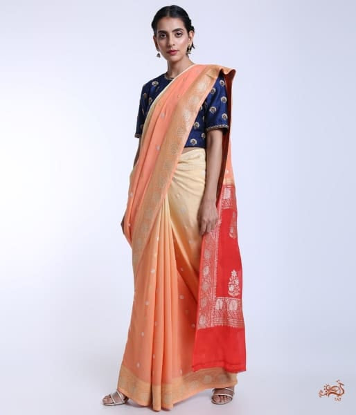 Handwoven Banarasi Georgette Saree With Ombre Dye In Shades Of Peach And Orange Saree