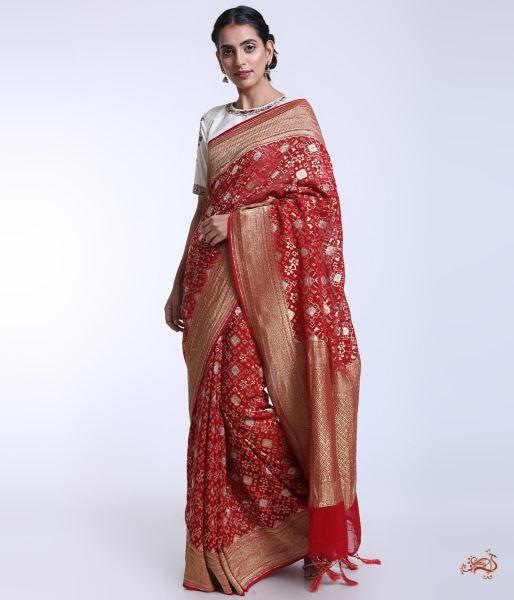 Handwoven Banarasi Georgette Saree Woven With Patola Weave Saree