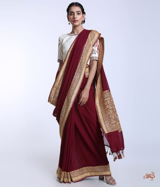 Handwoven Pure Georgette Saree In Wine Color Saree
