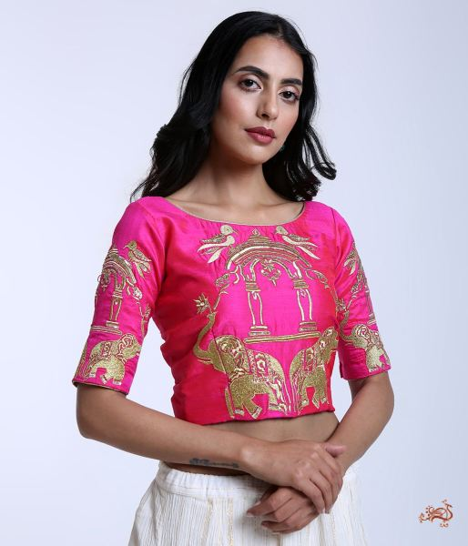 5deeecc7429d7 ... Pink Raw Silk Blouse With Machine Embroidered Elephant Motifs Blouses   Crop Tops ...