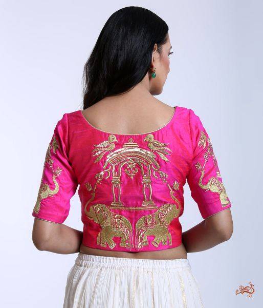 Pink Raw Silk Blouse With Machine Embroidered Elephant Motifs