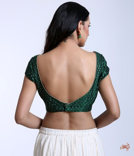 Green Raw Silk Blouse With Pitta Embroidery Blouses/ Crop Tops