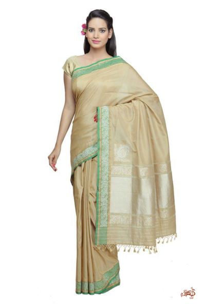 Handwoven banarasi cotton silk saree in beige and green with a konia pallu - WeaverStory - 1