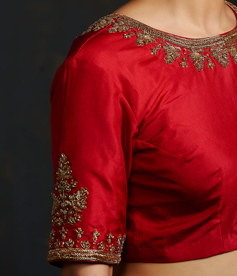Red Blouse with Big Boota on Sleeves and Neck Embroidery