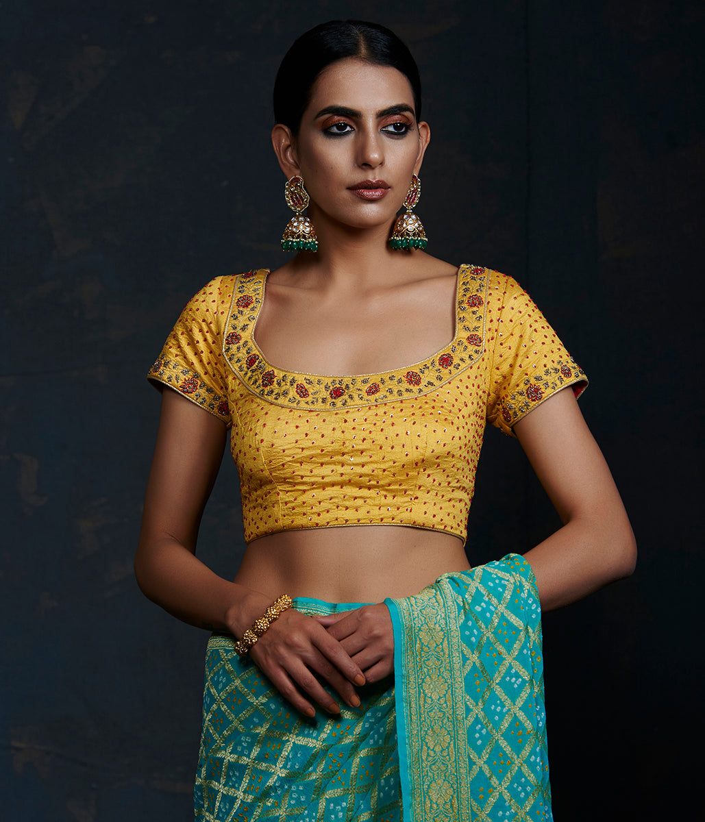 Yellow Silk Blouse with Zardozi and Red Detailing