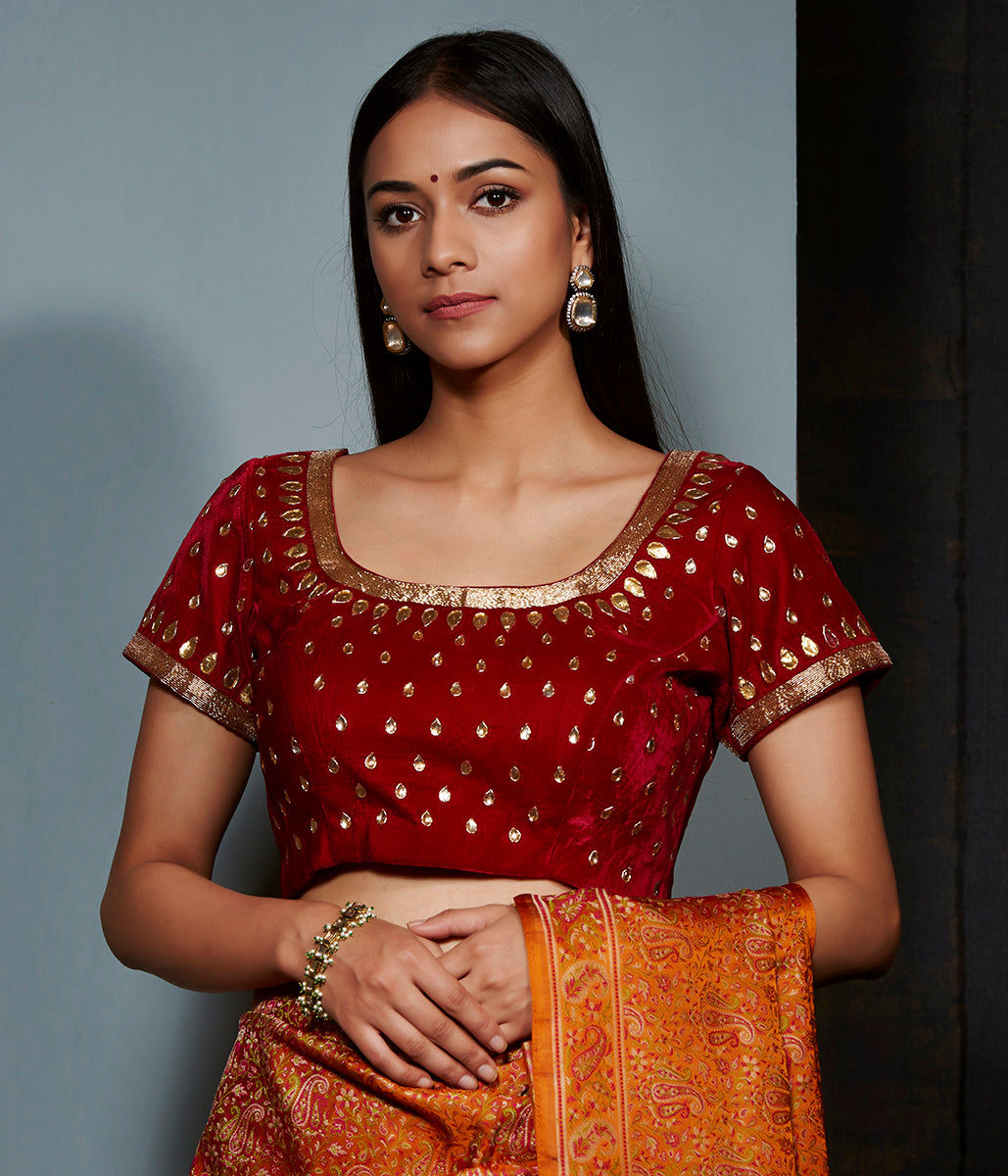 Red velvet blouse with gota work