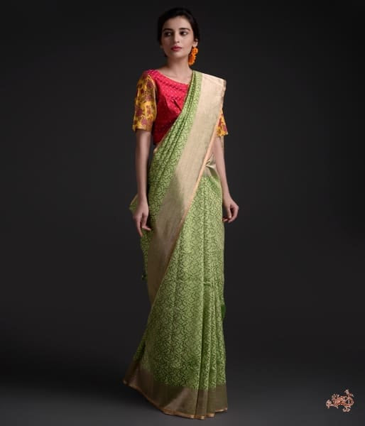 Handwoven Banarasi Tissue Net Saree With Gold Border Saree