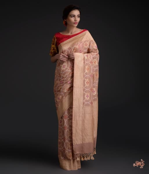 Dull Brown Banarasi Georgette Meenakari Jangla Saree