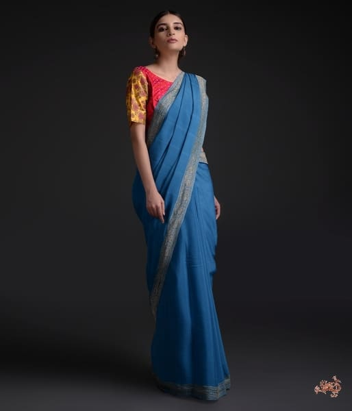 Handwoven Banarasi Georgette Saree With Antique Zari Border Saree