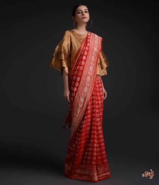 Red Khaddi Georgette Saree With Gold And Silver Booti Saree