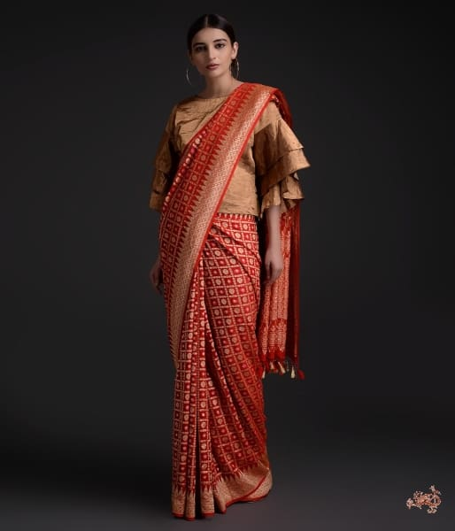Handwoven Banarasi Georgette Saree In A Bridal Red Saree