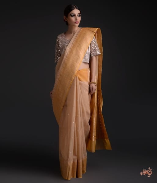Handwoven Kora Silk Saree With Sona Rupa Booti Saree
