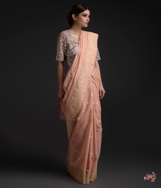 Light Pink Kadhwa Boota Cotton Saree With Sona Rupa Zari Saree