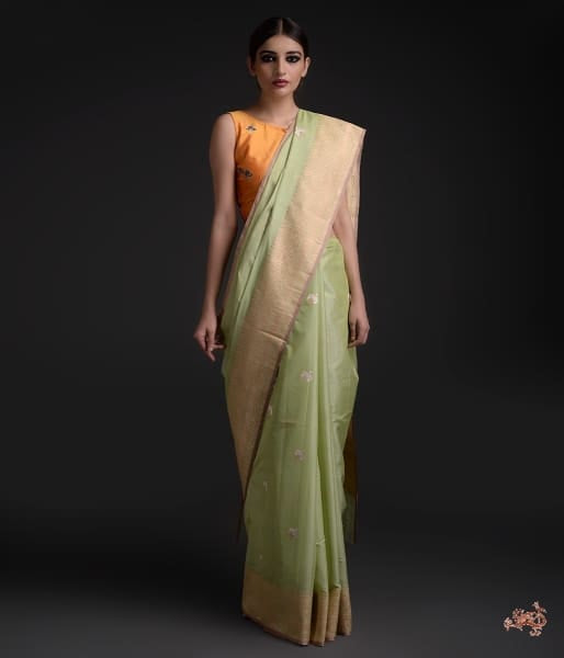 Light Green Cotton Silk Saree With Sona Rupa Zari Boota Saree