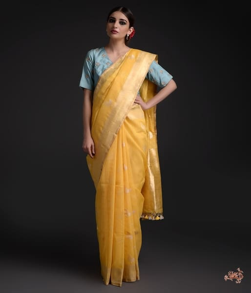 Handwoven Pure Cotton Jamdani Weave Twin Leaf Motif Saree Saree