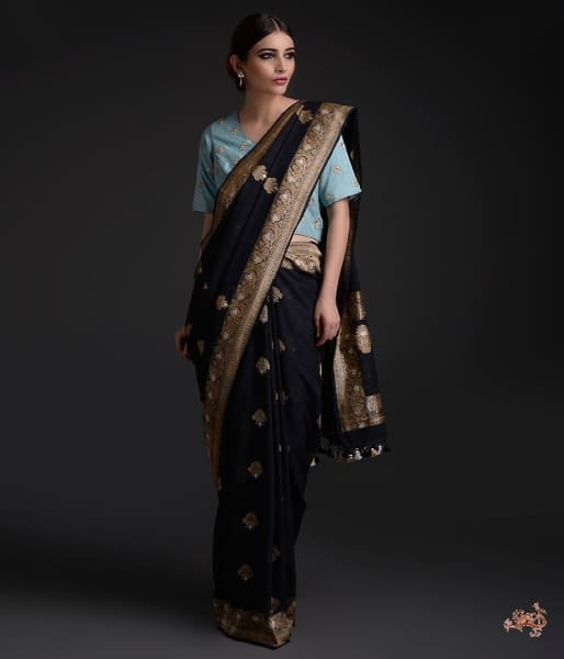 Handwoven Black Banarasi Cotton Saree With Sona Rupa Zari Saree