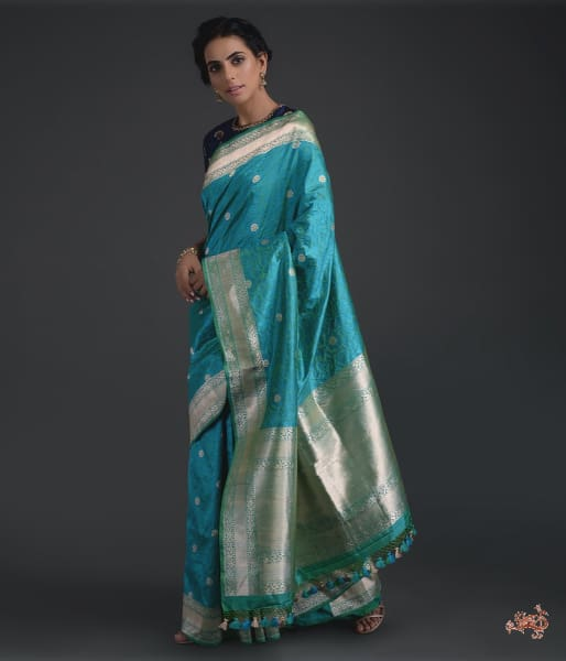 Turquoise Blue And Green Tanchoi With Kadhwa Border Saree
