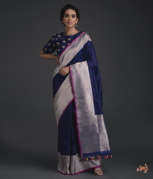 Blue Black Tanchoi Silver Diagonal Weave Saree