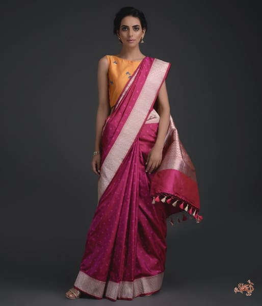 Wine Booti Saree With Sona Rupa Chevron Borders Saree