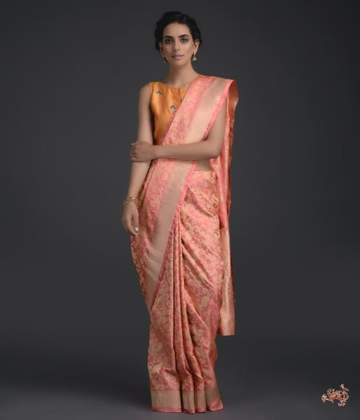Light Peach Banarasi Tanchoi Saree With A Self Weave Gyasar Jaal Saree