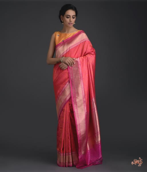 Handwoven Banarasi Tanchoi Saree In Pink And Orange With Self Weave Saree