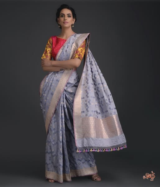 Grey Banarasi Tanchoi Saree With A Honeycomb Design Saree