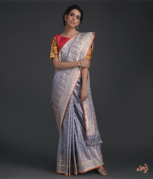 Handwoven Banarasi Tanchoi Saree With Meenakari In Light Grey Color Saree