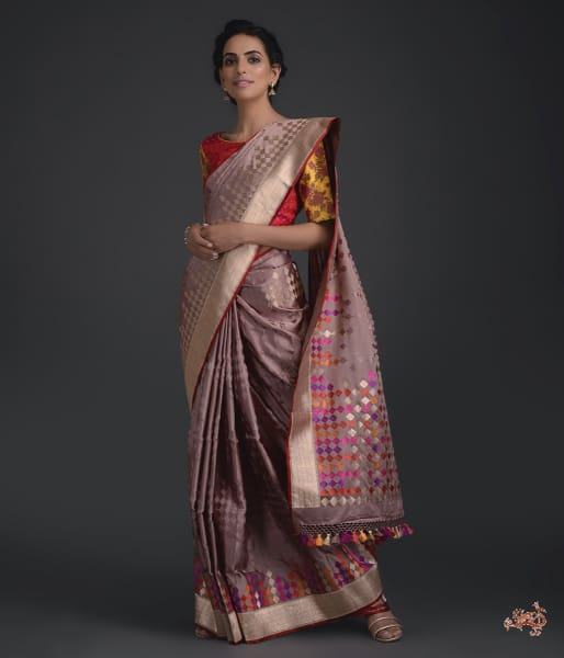 Handwoven Banarasi Tanchoi Saree With Meenakari In Light Brown Color Saree