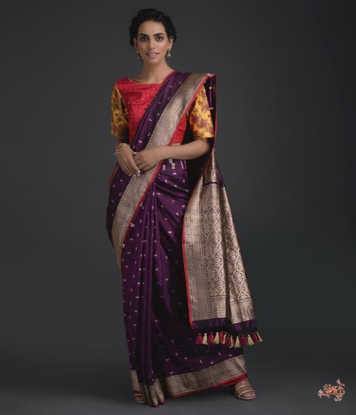 Deep Purple Self Weave Tanchoi Saree Saree