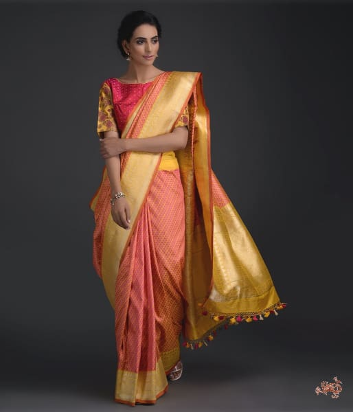 Handwoven Yellow Self Weave Tanchoi Saree Saree