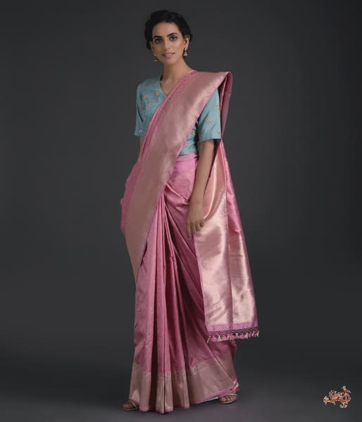 Mauve Tanchoi With Kadhwa Border Saree