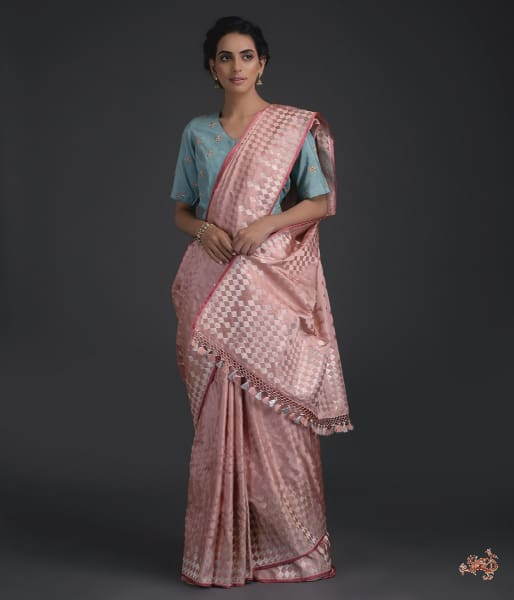 Handwoven Banarasi Tanchoi Saree With Meenakari In Light Pink Saree