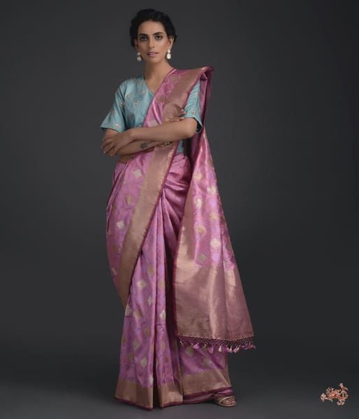 Light Mauve/pink Kadhwa Saree With Self Weave Saree