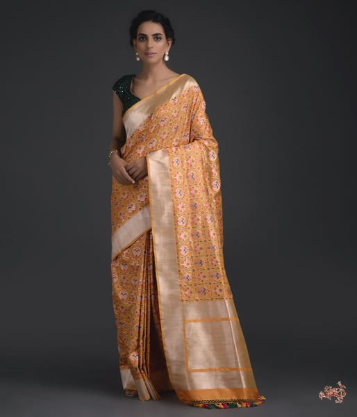 Handwoven Yellow Banarasi Patola Saree With Intricate Meenakari Work