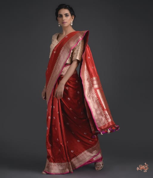 Red Katan Silk Saree With Small Floral Motifs Saree