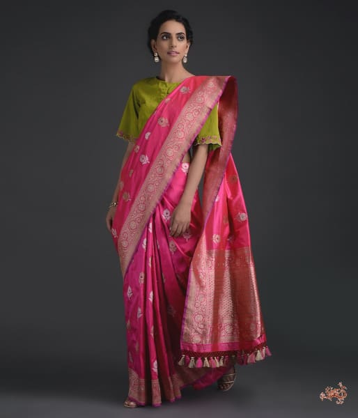 Hot Pink Kadhwa Floral Booti Saree With Meenakari Saree