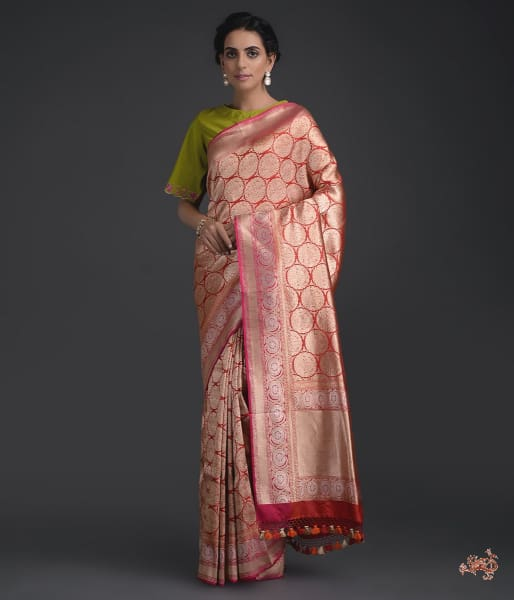 Red Kimkhab Saree With Pink Kadhiyal Border Saree