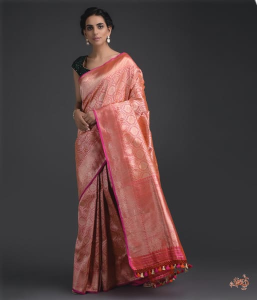 Pink And Orange Kimkhab Saree Saree