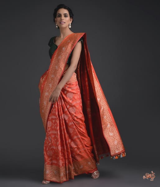 Deep Orange Banarasi Jangla With Heavy Border And Pallu Saree