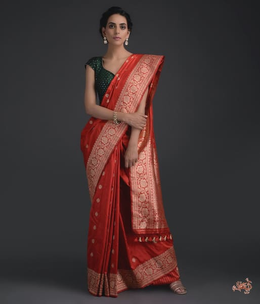 Handwoven Red Tanzeb Booti Saree Saree