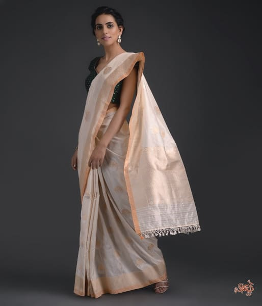Ivory Katan Silk Saree With Sona Rupa Zari Motifs Saree