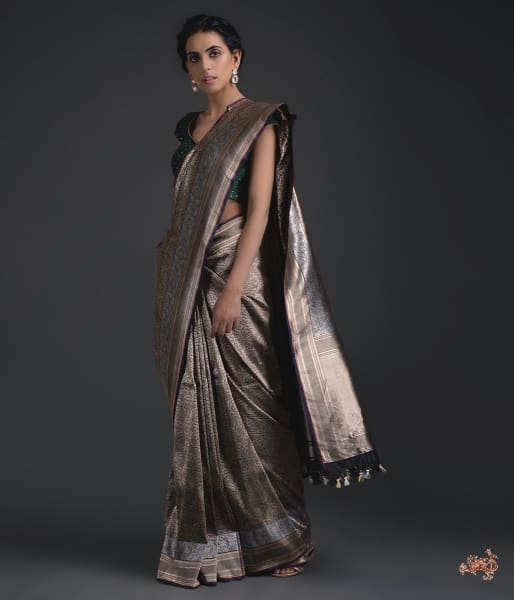 Charcoal Black Kimkhab Saree With Gold Weaving And Silver Border Saree